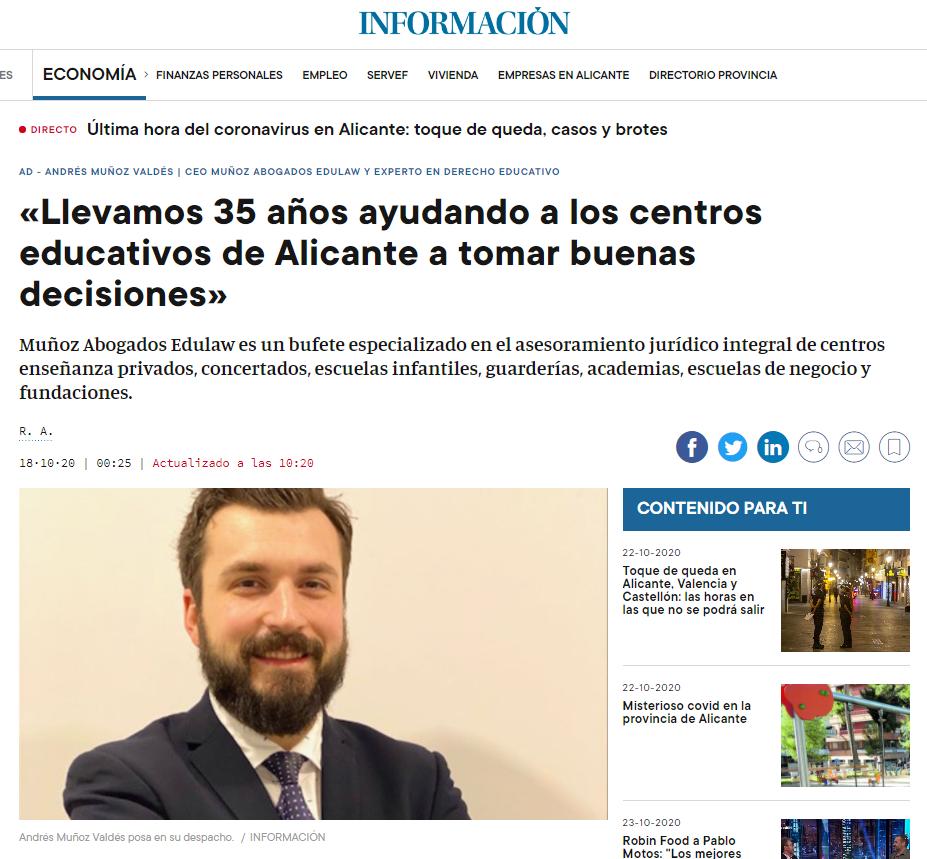 Entrevista en el Diario Información sobre nuestro Bufete Muñoz Abogados Edulaw